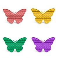 Les jouets de décompression poussent ses pops fidget 4 couleurs la forme de papillon popper bubble doigt du doigt sensoriel pour enfants cadeaux