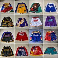 2021 Takım Basketbol Kısa Sadece Don Retro Co-Markalı Spor Şort Cep Pop Pantolon Cep Fermuar Sweatpants Mor Beyaz Siyah Mavi Kırmızı Sarı Erkek Dikişli Iyi