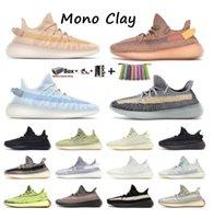 Kanye homens mulheres executando sapatos mono gelo argila cinza pedra azul cinzento yechheil criado oreo terra linho asriel zebra treinadores sneakers com caixa