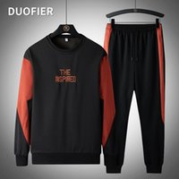 Men's Tracksuits 2021 Autumn Suit Sportswear Spring Embroidery O-neck Pullover Sweatshirt + Sport Pants Man Casual