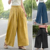 Women Elastic Waist Trousers Capris ZANZEA Female Wide Leg Pants Summer Ladies Oversize 5XL Casual Solid Pantalon Palazzo Women's &