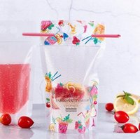 500ml Fruit pattern Plastic Water Drink Bag Bottles Frosted Zipper Stand-up Pouches with Straws for Beverage Juice Milk Coffee
