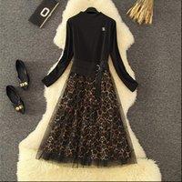 Женские платья Элегантные черные леопардовые печатные платья с длинным рукавом марли пэчворк линия стройная мельница MIDI Office Lady Work Spring Осень