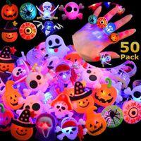 50pcs Halloween LED Cute Flashing Rings Luminous for Kids Baby Girl Cartoon Led Light Finger Glowing Toys