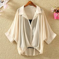Women's Blouses & Shirts Ladies 2021 Two Piece Set Plus Size Chiffon Summer Half Sleeve Loose V-neck Women Casual Blouse Autumn Sexy Cool To