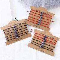 Blaue böse Augenarmbänder mit Kartenfrauen Modeschmuck Mens einstellbar Glas geknotetes geflochtenes Seil Charm Armband Lucky Bangles Geschenke 1Lot = 1Set = 6 stücke