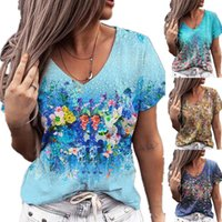 Women's T-Shirt Summer V-neck Print Short Sleeve Casual Loose Floral Tops Fashion Vintage Womens Tshirt Plus Size Pullover Tee