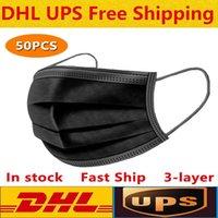 DHL черные одноразовые маски лица 3-слой защита от раковины рот санитарно открытый