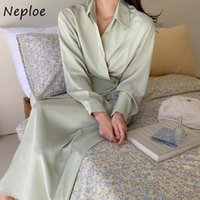 Casual Dresses Neploe Simple Temperament Lapel Collar Woman Dress One-piece Buttoned Waist Robe Korean Chic Solid Color Long Vestidos