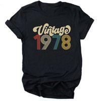 Vintage 1978 mulheres camiseta 43rd festa de aniversário mulher roupas o pescoço manga curta t-shirt estética moda tops Tee Dropshipping