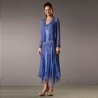 2020 Barato Royal Azul Azul Formal Mãe dos Vestidos de Noiva Frisado com Longa Manga Jaqueta Chá Comprimento Mãe Vestidos Noiva Dre Ncfg