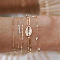 Link, Chain 5PCS Women Bracelets Set Multilayer Metal Shell Beads Gold Chains Boho Bracelet Femme Antique Beach Anklet Jewelry Accessories