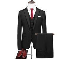NOUVEAU ARRIVÉE MATIN MONTENCE COSTULES DE MARIAGE POUR HOMMES BEST HOMME TROIS SUITES DE PIÈCES DE L'HOMME (Veste + Pantalon + Vest) Custom Custom Black Cost 200922