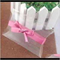 Wrap Clear Pvc Pillow Pink Wedding Favor Bridal Gift 1Lot50Pcs Box 50 Pcs Ribbon Custom Logo Moq Wmtvbk Wrhwc M1Asp