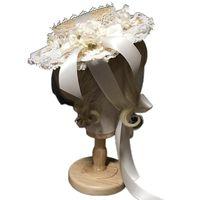 Kadın Kızlar Lolita Zarif Çay Partisi Düz Şapka Çok Katmanlı Dantel Bonnet Yapay Çiçek Şerit Ilmek El Yapımı Saman Plaj B03B Geniş Brim Ha