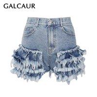 Galcaur Дизайнерские джинсовые шорты для женщин Высокая талия пэчворки кисточек асимметричные синие повседневные короткие штаны женские лето