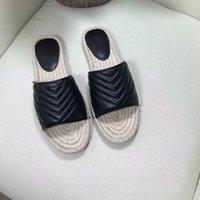 Женская кожаная Espadrille Sandal Slide Brand Designer Sandals Высококачественная реальная шнур платформа двойное оборудование на открытом воздухе