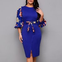 Casual Dresses Blue Bodycon For Women 2021 Elegant Lantern Sleeve Summer Dress Floral Print Evening Party African Ladies Clothing