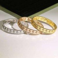 Moda tem carimbo de alta qualidade pulseira quatro folhas trevo 3 cores pulseiras e anel 18k ouro para mulheres meninas valentim jóias-1 pedras preciosas