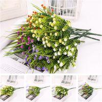Handmade Fake Flowers Plastic Gypsophila Rose Grass Artificial Plants Bouquet For Home El DIY Wedding Decoration Flower Decorative & Wreaths