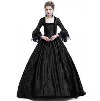Vestito da donna 18 ° secolo Medioevale Gothic Bolder Sleeve Sleeve Rinascimento Pizzo Masquerade Costume Pavimento-lunghezza Vestido Gotico