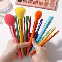 Coloful Makeup Brushes Foundation Powder Eyeshadow Eyeliner Blush Concealers 12pcs Rainbow Cosmetic Brush Tools Make Up