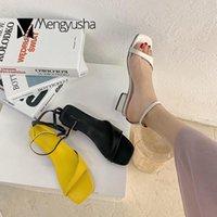 حذاء اللباس العصرية منحنى المفتوحة تو الحلوى الصنادل النساء رشاقته ميد عالية الكعب المصارع الصندل الكاحل مشبك مربع الصيف