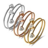 Gold Color Twist Bangle Elastic Love Blanco Clay Diamond Bracelet Tres Capa Romántico Brazaletes / Pulsera para Mujeres
