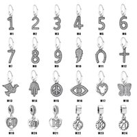Evil Eyes Real 925 Sterling Silver Number Pendant Charm Fit Necklace  Bracelet Diy Jewelry Bead Accessories