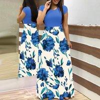 Frauen O Neck Lange Kurzarm Blumendruck Großer Saum Taille Enge Maxi Kleid Druck Design Casual Kleid mehr Stilvolles