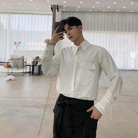 남자 포켓 디자인 긴 소매 캐주얼 느슨한 흰색 셔츠 남성 패션 streetwear 힙합 파티 드레스 셔츠 무대 의류 남자