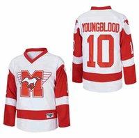 1986 Хоккей на льду фильм 10 Дин Янг молодой Гамильтон Мустанги Mustangs Джерси Колледж Дышащий Команда Цвет Белый Университет Мужская Все Швы Высокое Качество
