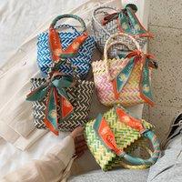 Girls Weave handbags fashion flowers scarves basket web celebrity woman female bags summer kids beach wallet 1343 B3