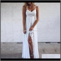 Womens Clothing Apparel Drop Delivery 2021 Bkld Women Summer Sexy Split White Spaghetti Strap Dress Casual Vneck Beach Elegant Embroidered Dr