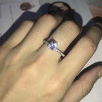 Mode Silber Rose Gold Farbe Klare Zirkon Ringe Für Frauen Mädchen Geschenke Weibliche Engagement Hochzeit CZ Kristallring SJ 814 T2