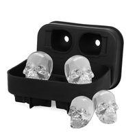 Cavidad Skull Head 3D Molde Esqueleto Skull Forma Cocktail de vino Ice Silicone Cube Tray Bar Bar Accesorios Molde de caramelo Enfriadores de vino 1213 V2