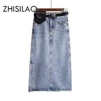 Длинные джинсовые юбки Женщины Винтаж High Wasit Джинсы Юбка с поясом Плюс Размер Прямой A-Line Карандаш Элегантный Летний 2020 Шика