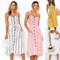 2020 Fashion Women Summer Dress Casual Black White Elegant Midi Sunflower Clock Sexy Mouwlless Spaghetti