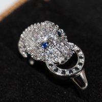 Victoria Wieck El Yapımı Toptan Lüks Takı 925 Ayar Gümüş Mavi Safir CZ Elmas Parti Iyi Kadın Düğün Leopar Yüzük Size6-9