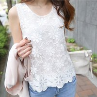 40# Women Florak Lace Summer Blouses Top Casual Sleeveless Vest O-neck Floral Tops Elegent Korean Style Shirt Women's & Shirts