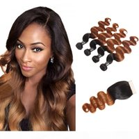 Ombre Brazilian Virgin Hair 3 4 Bundles With Closure Brazilian Body Wave Hair Weaves 1B 30 1B 99J Human Hair Wefts With Closure