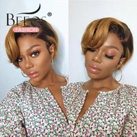 Pixie Cut Wig Human Hair Short Bob Wigs 4*4 Lace Closure PrePlucked For Black Women 180 Density Remy Ombre Honey Blonde