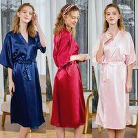 숙녀의 모조 실크 캐주얼 하프 슬리브 잠옷 나이트 가운과 홈웨어 순수한 컬러 파자마 여성