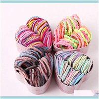 Jewelry Jewelry50Pcs Box Girls Colorful Basic Elastic Hair Bands Ponytail Holder Scrunchies Kids Ropes Rubber Aessories Drop Delivery 2021 C