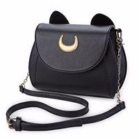 الصيف بحار القمر السيدات حقيبة سوداء لونا القط شكل سلسلة الكتف حقيبة بو الجلود النساء رسول crossbody الصغيرة