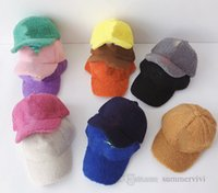 Designer Kids Fleece Baseball Hat Girls Peluche Lettera Applique Caps Boys Outdoor Sport Cappelli Moda Bambini Casual Ball Cap Visor 13 Colore Q2199