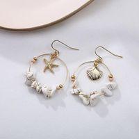 Dangle & Chandelier Sea Shell Starfish Earrings For Women Teens Girls Summer Fashion Drop Errings Irregular Stone Beach Party Jewelry