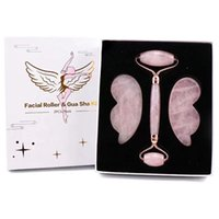 Facial Roller Wing Gua Sha Tool 3PCS Set Face Care Massager Natural Rose Quartz Jade Stone Anti Wrinkle Cellulite Neck Massage Beauty Product