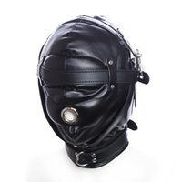 Latex Leather Headgear Mask Hood Blindfold Role Play Erotic Costumes Full Cover Bondage Head Harness Sex Toys