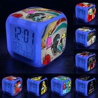 7 LED-Farben wechselnd digitale Wecker Schreibtisch Gadget Thermometer Nacht glühende Cube LCD-Tischleuchte